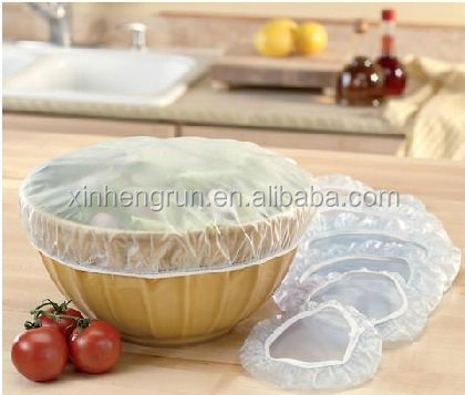 Disposable plastic food cover with elastic