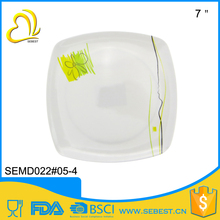 "Popular factory melamine product 7"" square dessert used restaurant dishes"