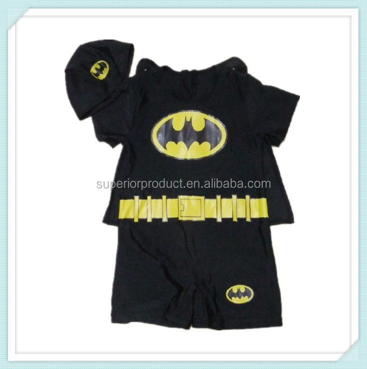 Short sleeves kid Children Boy swimming Bat man Superman Modelling swimsuit Fission swimsuit hat+ shawls