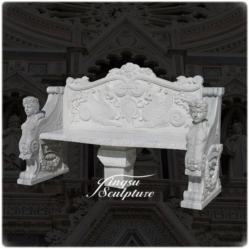 Outdoor decoration western style marble benches with back