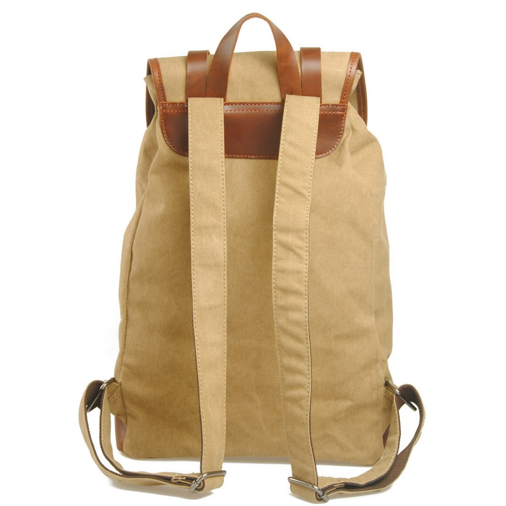 100% Cotton Canvas leather laptop backpack