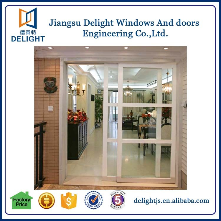 Aluminum alloy sliding internal french doors with easy screen window installation