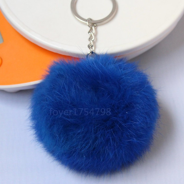 Colorful High Quality Fur Brand Bag Keychain Pompon Car Keyring Rabbit Fur Ball Keychain Fur Brand Charms Pom pom Keychain
