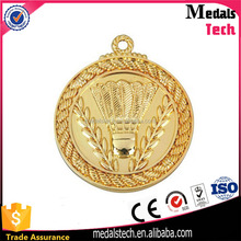 Factory direct sale round shape gold plated badminton sport medal for match souvenir