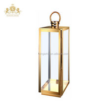 Elegant Golden Brass outdoor lantern garden Stainless steel candle holder