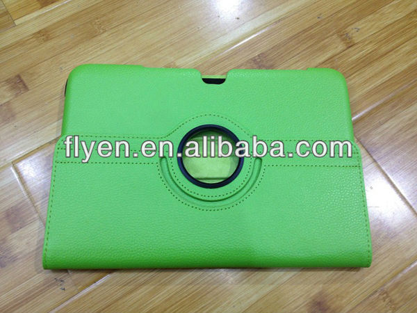 Hot greeen Leather 360 Rotating lichi pattern leather Case Cover Skin for Samsung N8000 Galaxy Note 10.1