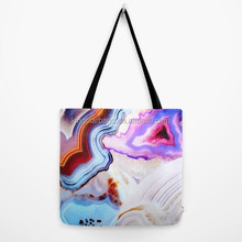 Printed awith vivid metamorphic rock on fire canvas shopping bag