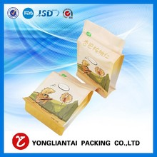 Flat bottom quad seal coffee packaging bag with valve