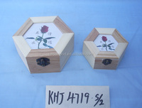 High quality competitive and delicate hexagon wooden box for jewelry paiting the symble of rose covered by glass on the lid