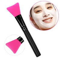 Soft Silicone Head Wood Handle Face Mask Brush