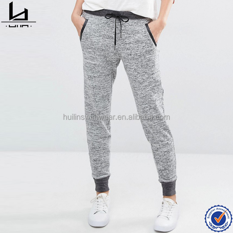 Ladies slim fit sweatpants side pockets drawstring waistband wholesale blank jogger pants