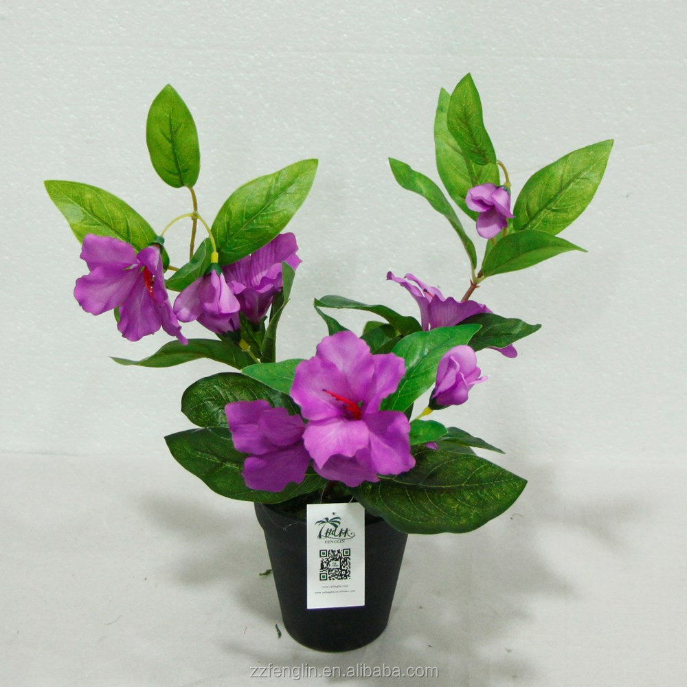 high quality Christmas gift artificial flower potted purple hibiscus marking artificial flower for home decoration