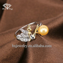 High quality hot sell fashion 925 sterling silver pearl elf ring