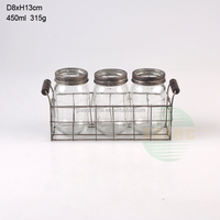 3pcs glass candle holders with metal stand