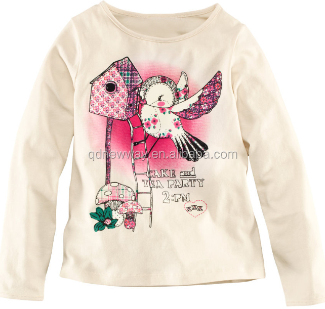 2015 hot selling children long sleeve t shirt with cartoon printing