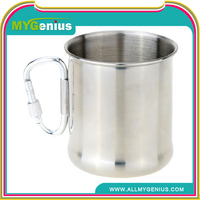 T0C Stainless Steel Coffee Cups with Carabiner Handle, Aluminum Camping Mug, Carabiner Coffee Mug