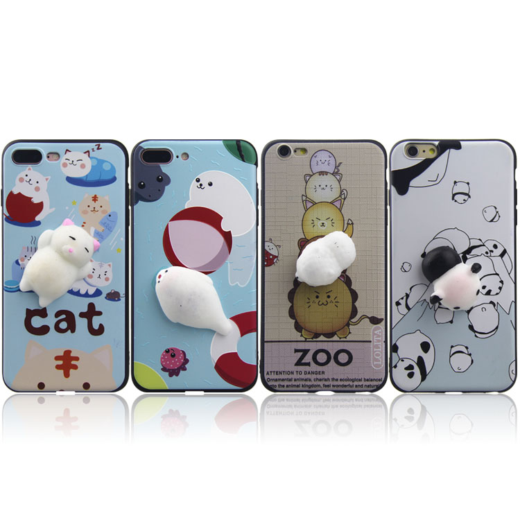 2018 hot new Animal Toys Custom 3D Silicone Nail Finger Pinch Phone Case for iPhone 7 plus