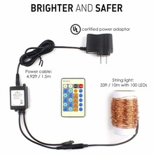 New Arrival 24 Keys Remote Control Dimmer 33ft 10M 100 Leds Waterproof Plug-in Christmas Fairy Copper Wire String Lights