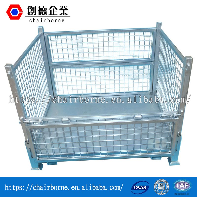 Iso 9001 certificated steel pallet box rigid wire mesh sea containers