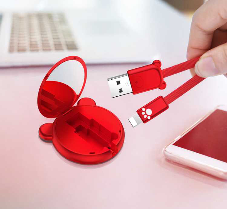 Telescopic charging cable with hanging rope and cute design