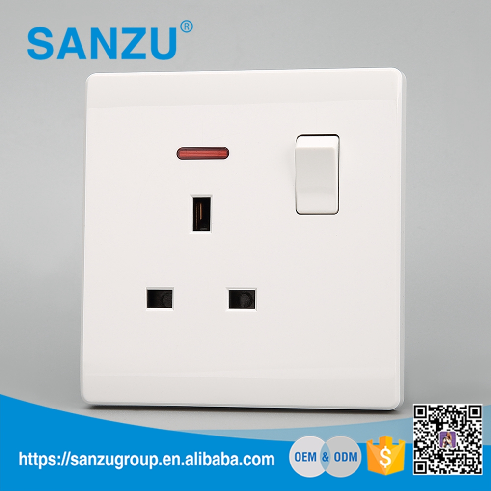 2017 Top sale office decoration 3pin 13A socket with 1 gang switch