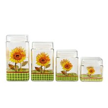 SINOGLASS 4 pcs with Sunflower decal square shape glass storage canister jar set