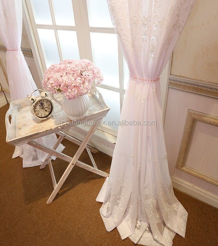 beautiful flower white embroidered voile curtain