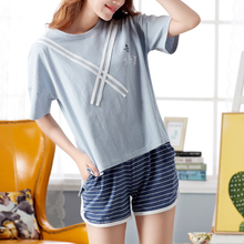 2017 Summer Women 100% Cotton O-Neck Short Sleeve Pajama Striped Pajama
