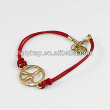 Fashion bracelet,string and gold plated pendant bracelet with peace marks