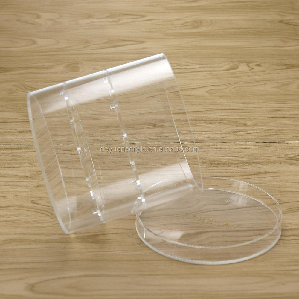 Acrylic Cylinder Flower Box Plexiglass Rose Round Case