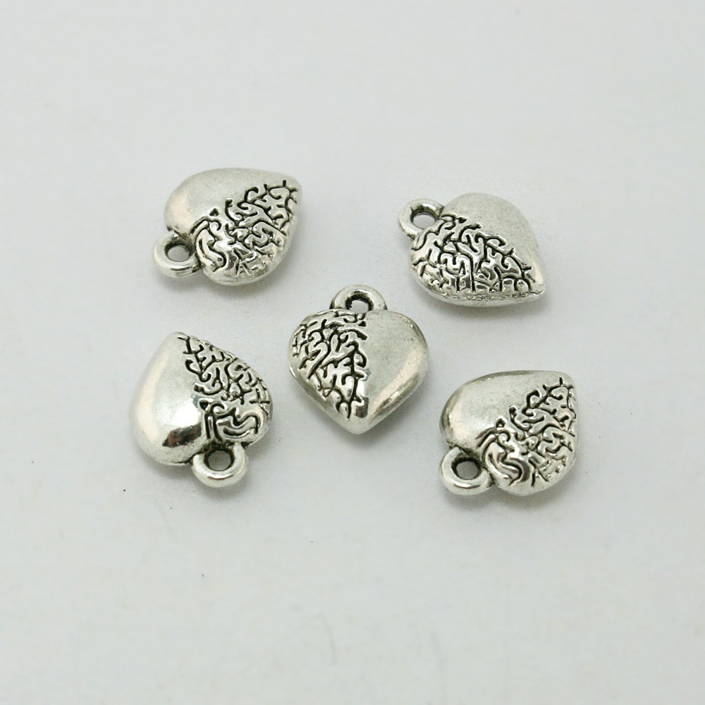Wholesale-Vintage Charms 250Pcs/lot Tibetan Silver Tone Love Heart Alloy Pendant Trendy New Charms Fit Jewelry DH-ZN-28333