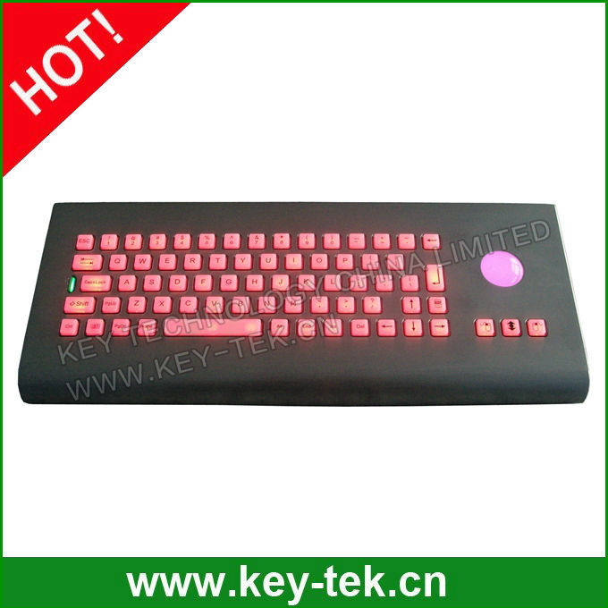 Industrial military wall mount keybaord with mechanical trackball