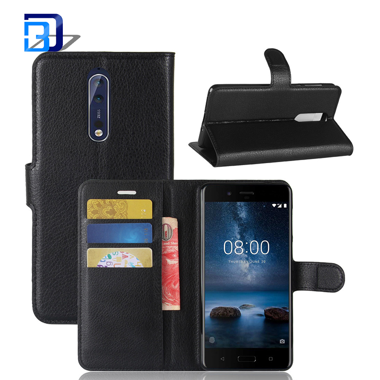 Hot selling products book style flip wallet card slot mobile case pu leather cell phone case for Nokia 8
