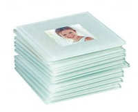 Promotional Reusable Personalised Custom Print Logo Glass Coasters With Photo Inserts