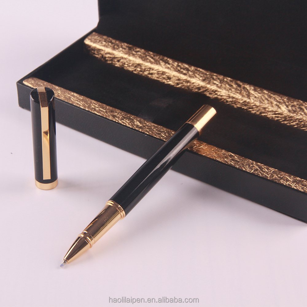 Gold black Roller pens with custom logo pen set with gift box luxury executive pen set