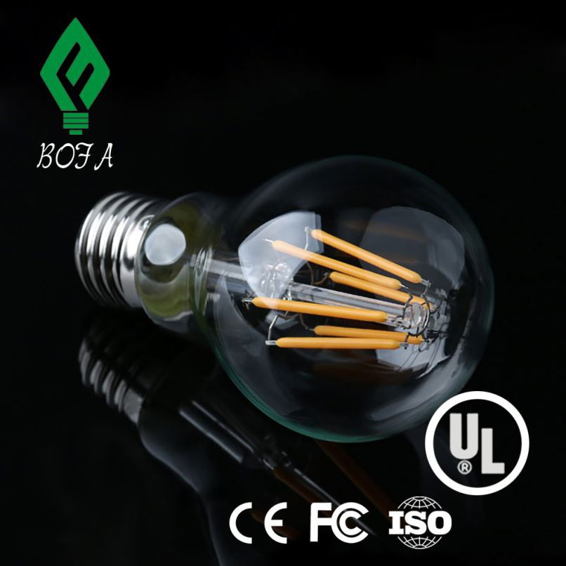 Cool white Color 6000K E27 B22 360 Degree 4W 6W 8w A60 A19 Led Filament Bulb