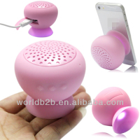 Pink mushroom Cute Silicone Bluetooth mini Speaker with sucker in stock