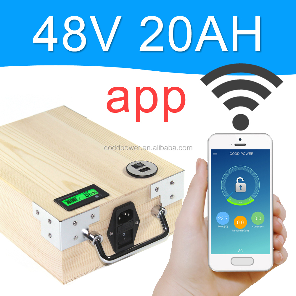 48v 20ah lithium battery pack for ebike With APP Bluetooth Control