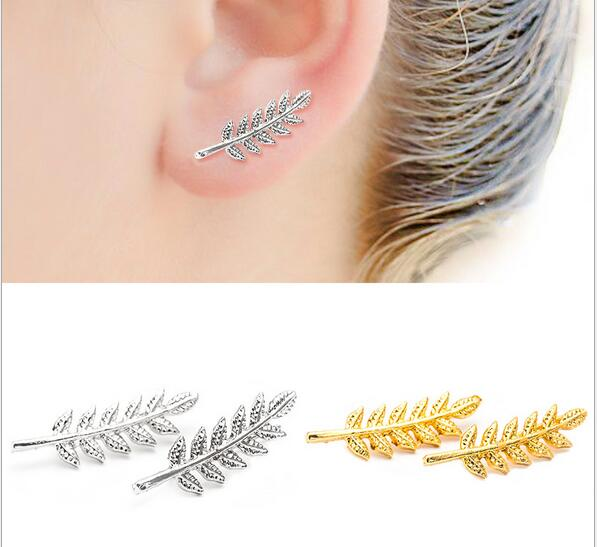 Bohemia style simple style leaf shape stud earrings for women personality silver gold black color plant leaves earrings jewelry