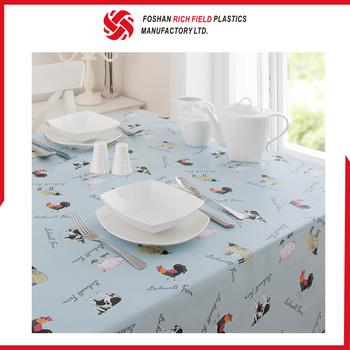 Best Quality Custom Wathet Blue Plastic Printed Tablecloth