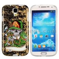 Fashionable Skull Pattern Smooth IMD Soft TPU Back Cases for Samsung Galaxy S4
