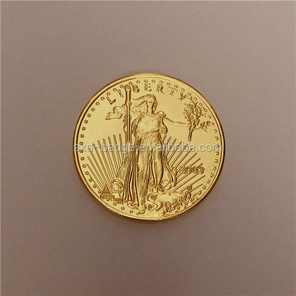 Thick Gold Plated Tungsten Gold Eagle Coin