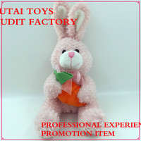 soft safety material plush rabbit bunny toy with radish