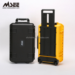Dental equipment carry case pp round tool case big wheels pp plastic trolley case for fruit