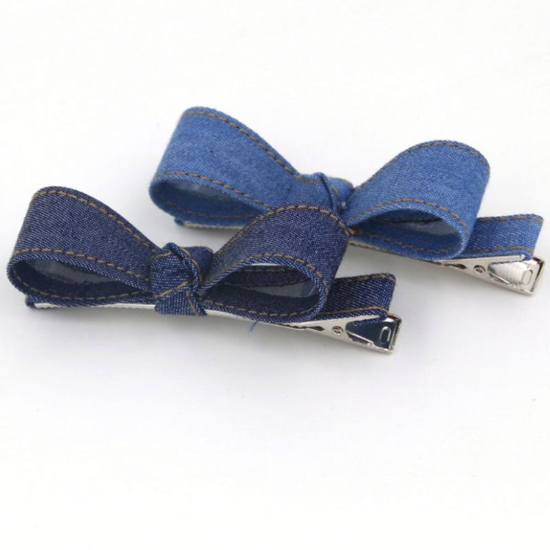 The Latest Design The Cowboy Cloth Art Fashion Bowknot Kids Hair Clip