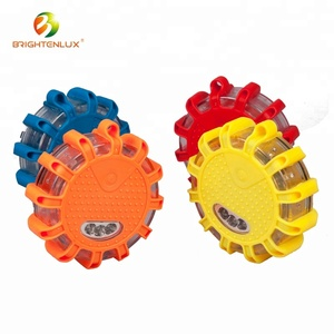 Factory Multi-color CE ABS Plastic Rechargeable Traffic Flashing Warning Light Emergency Disc Roadside Safety Led Road Flares