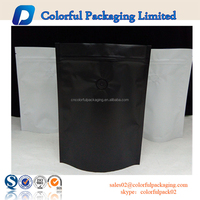 Matt black and white collocation aluminum foil coffee packaging bag with valve