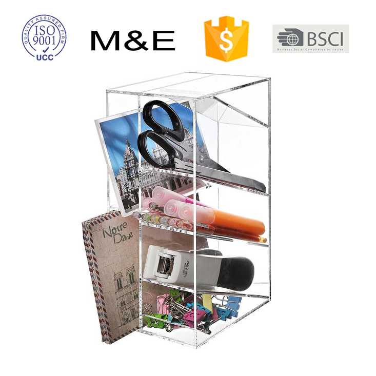 OEM Mini Clear Acrylic Accessories Storage Office Supplies Desk Organizer For Office