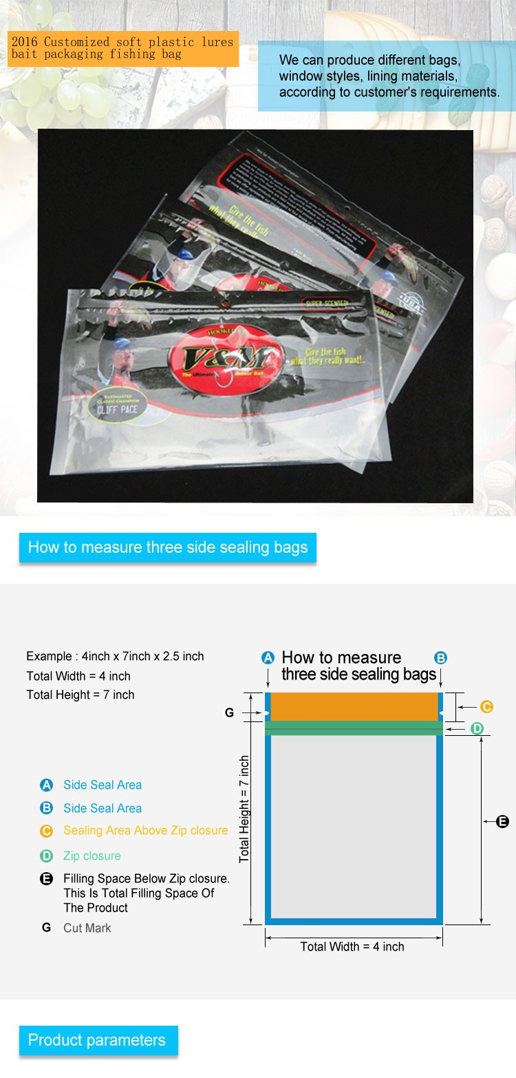 2016 Customized soft plastic lures bait packaging fishing bag