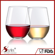 Thicker - Stronger - 100% Dishwasher Safe Unbreakable Stemless Wine Glasses Heavy-Gauge Tritan Plastic Glass